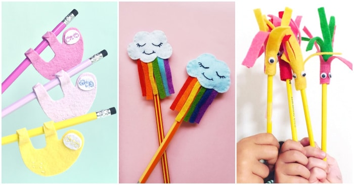 collage of diy pencil toppers including sloths, rainbow clouds, and monsters