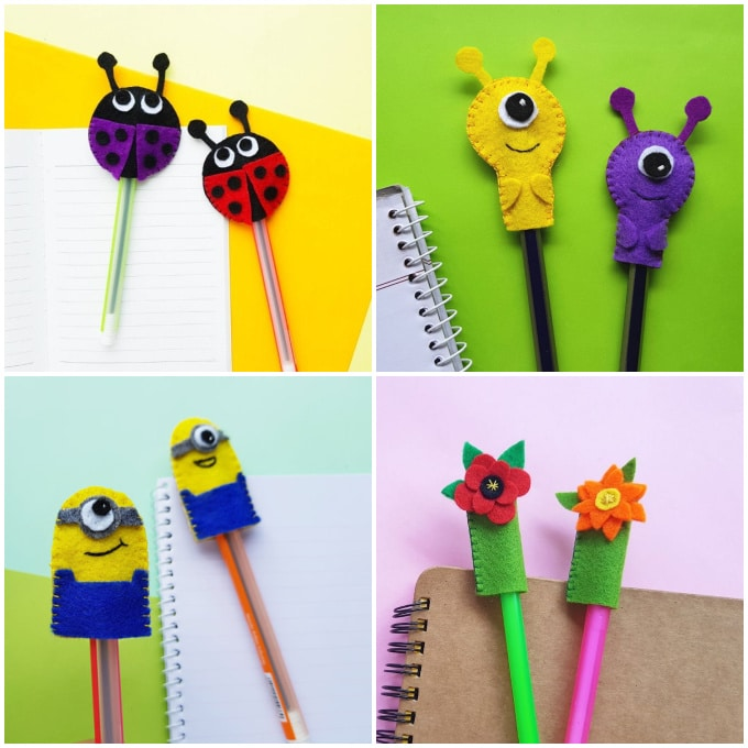 collage of cute ways to top your pencil