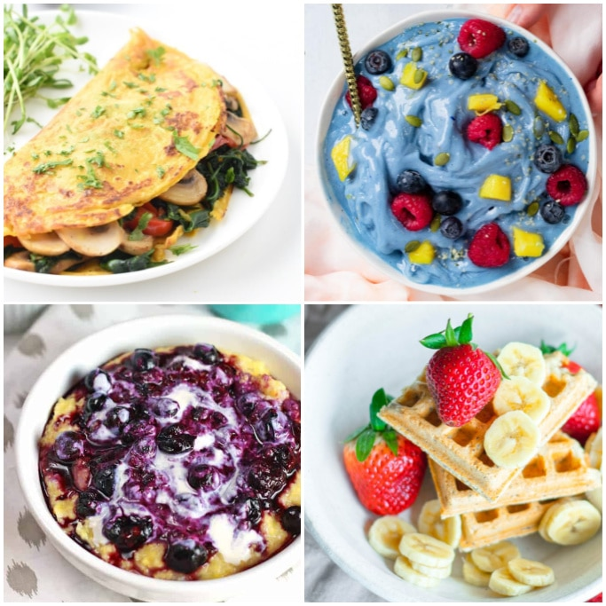 collage of plant based breakfasts