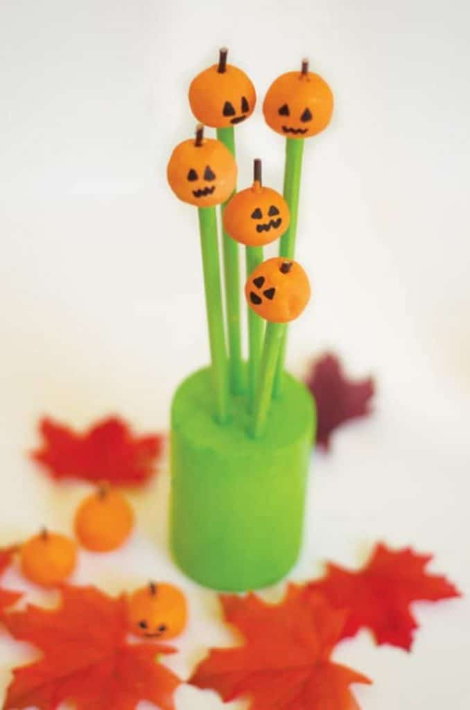 clay pumpkin pencil toppers for halloween