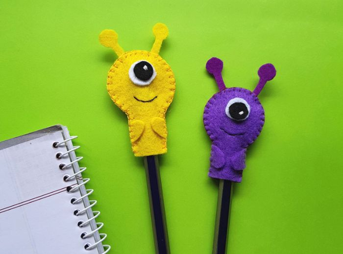 monster pencil toppers or aliens made with felt