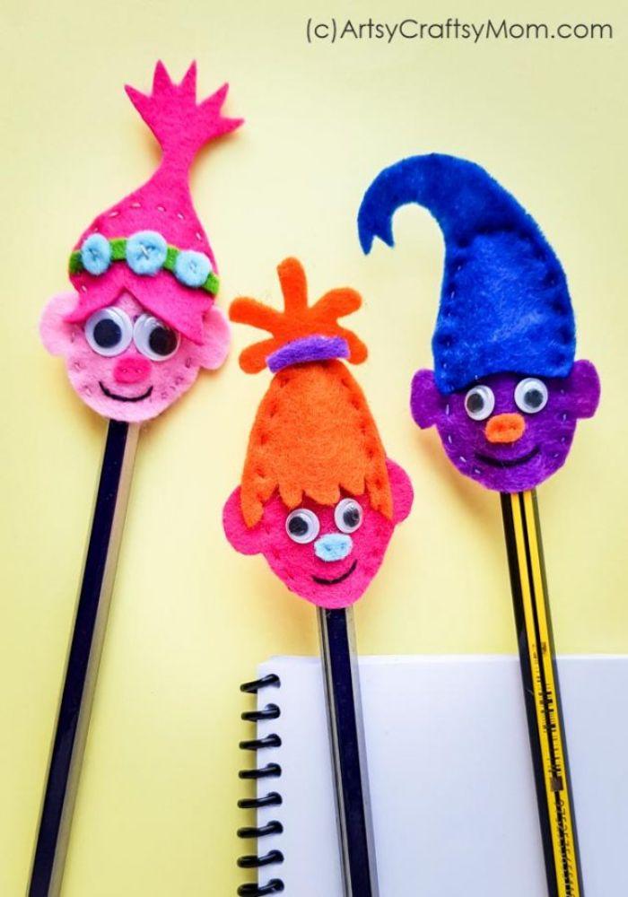 felt troll pencil toppers