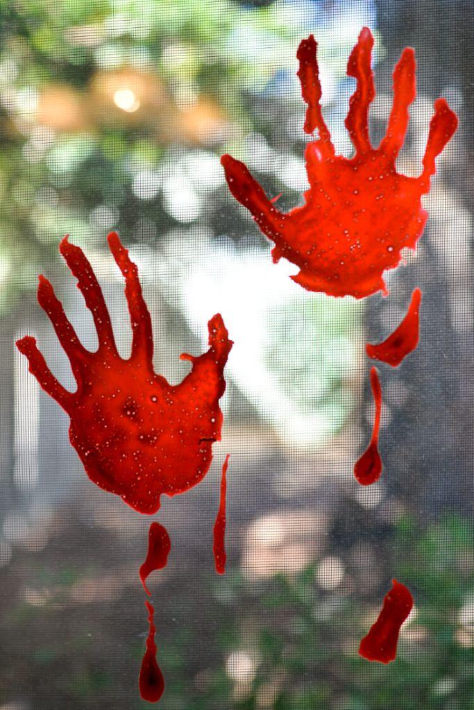 bloody handprint window clings by Hey Let's Make Stuff