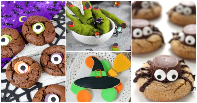 collage of Halloween cookies - eyeball cookies, witch finger cookies, witch hat and broom cookies, spider cookies