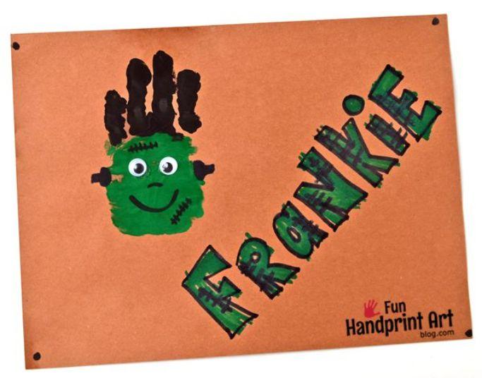 handprint frankenstein by Fun Handprint Art