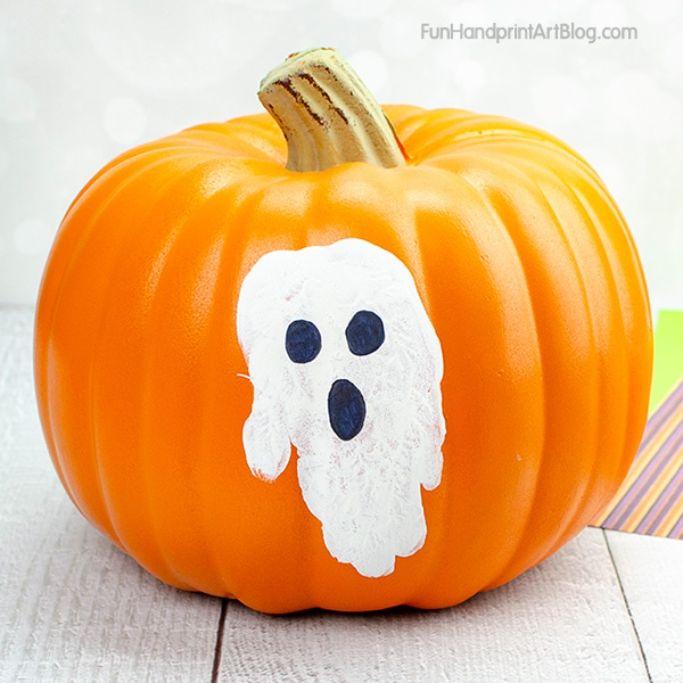 ghost pumpkin by Fun Handprint Art