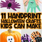 collage of Halloween handprint crafts, including a bat, witch, ghost, and monsters