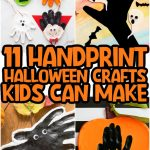 collage of handprint Halloween crafts including a vampire, ghost, Frankenstein, a spooky tree, a spider, and a pumpkin