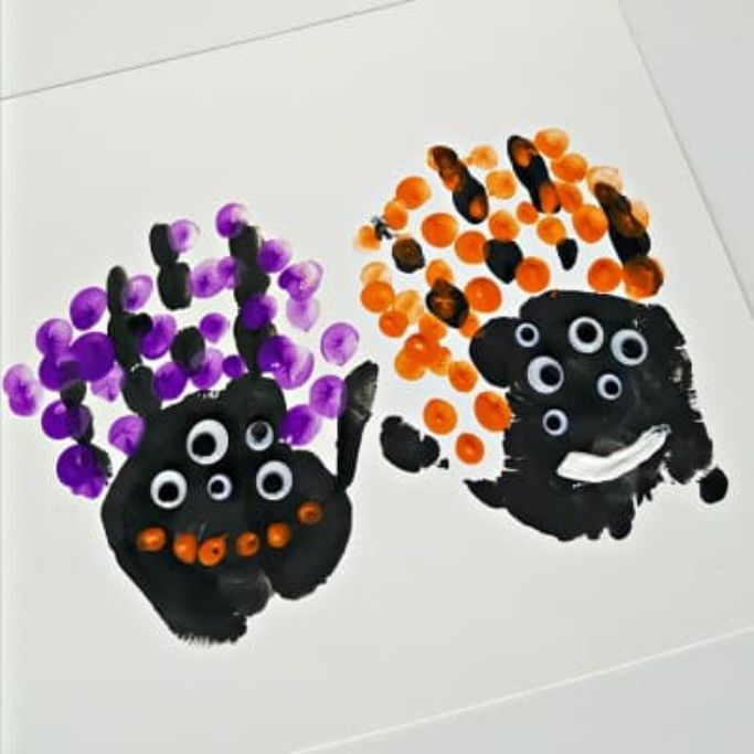 handprint monsters by My Bored Toddler