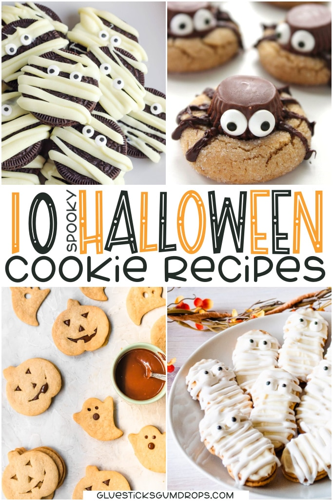 collage of spooky Halloween cookies including Mummy oreos, spider cookies, shortbread pumpkins and ghosts, and Nutter Butter mummies