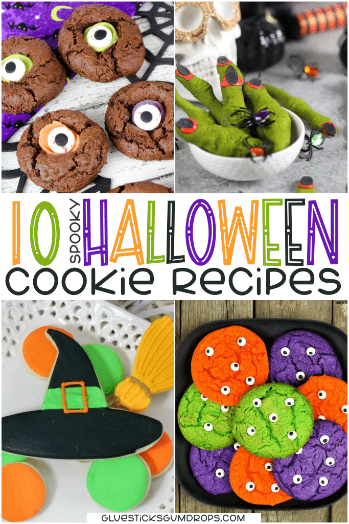 collage of Halloween cookie recipes including eyeball cookies, witch fingers, witch hat and broom cookies, and monster eyeballs cookies