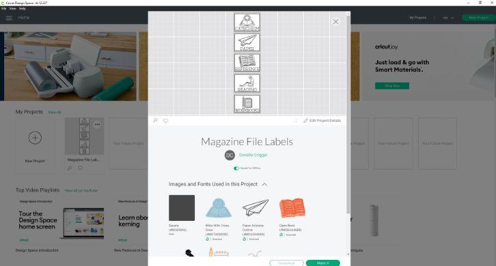 magazine files in cricut design space