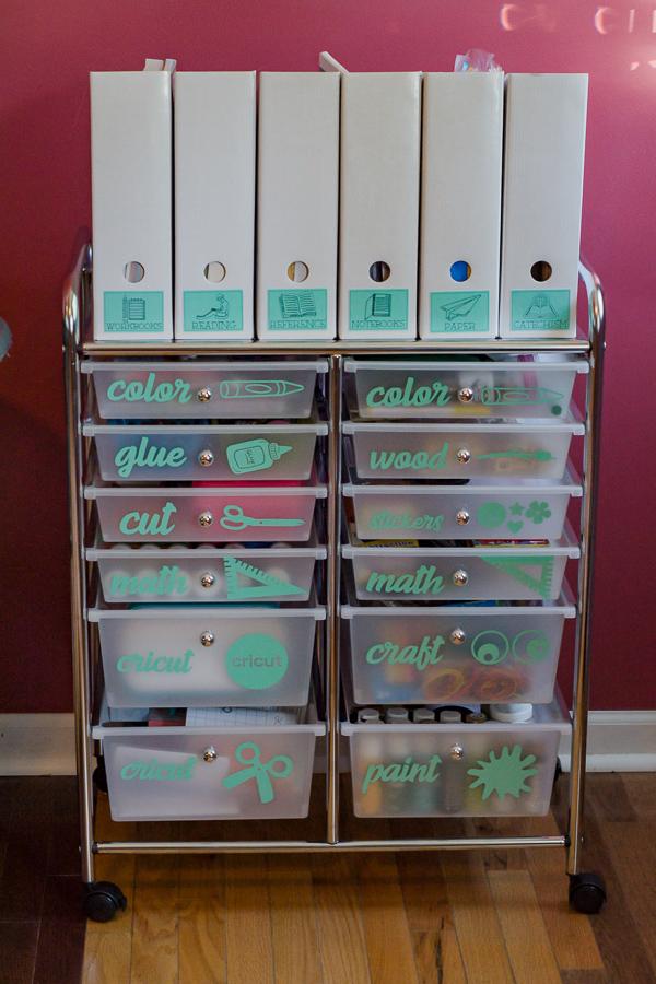 homeschool supplies cart