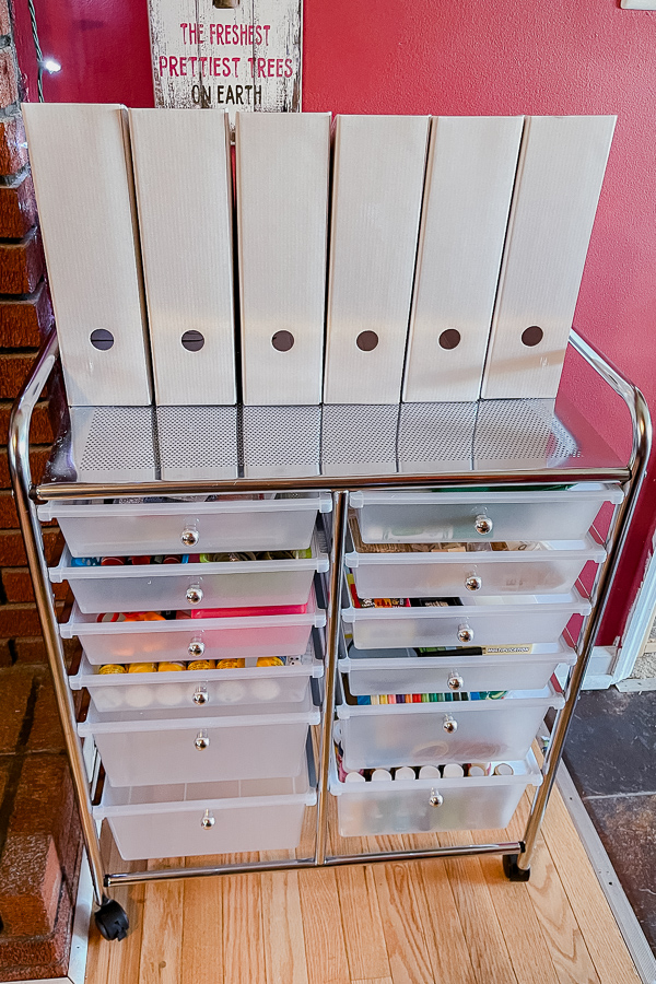homeschool storage cart before labels