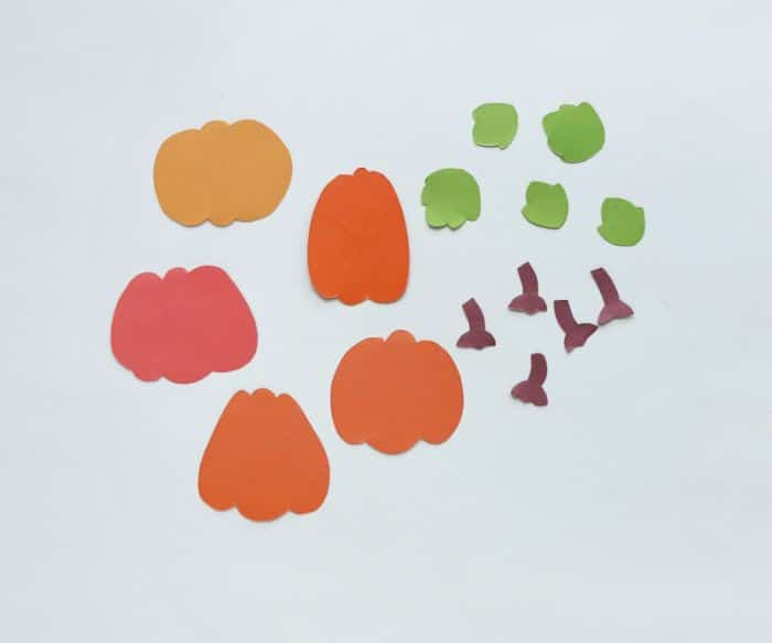 traced pumpkin pieces cut out