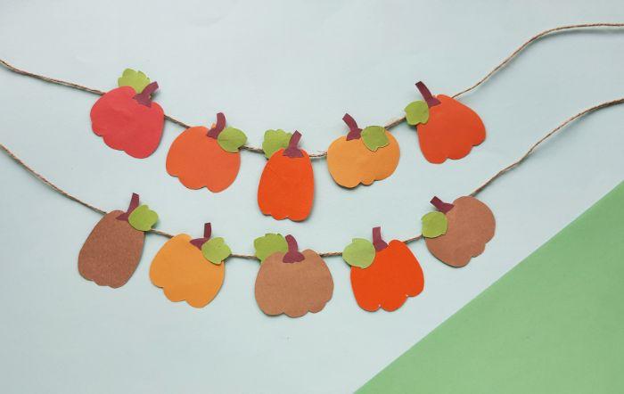 completed paper pumpkin banner
