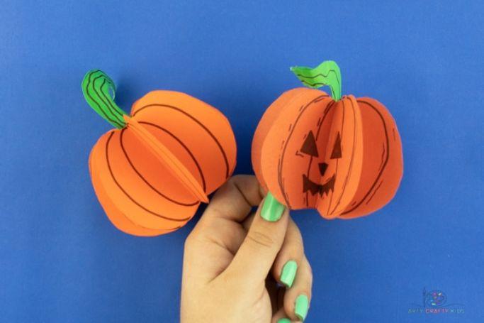 3d paper pumpkins by arty crafty kids