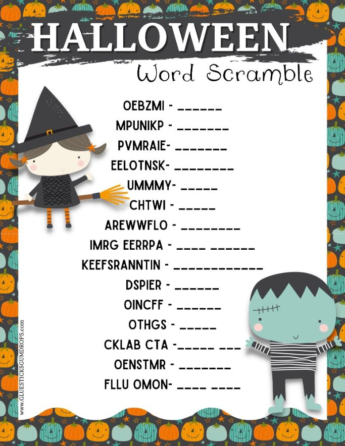 printable halloween word jumble