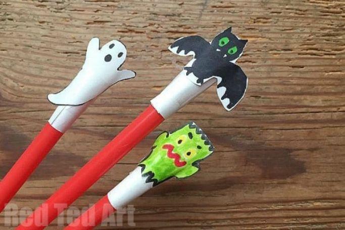 ghost, bat, and Frankenstein straw rockets