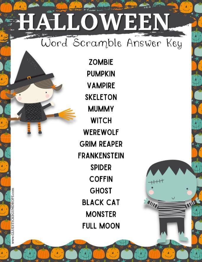 answer key for Halloween word jumble