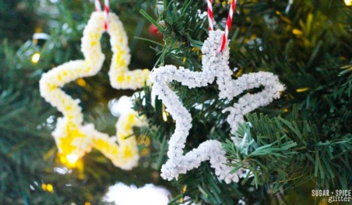 star ornaments with borax crystals