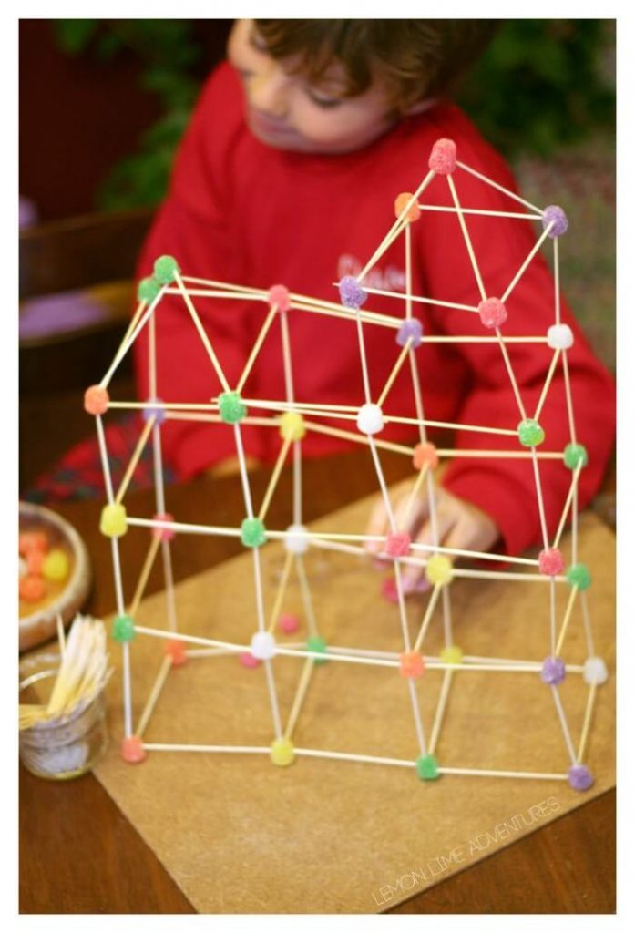stem structures with gumdrops and toothpicks