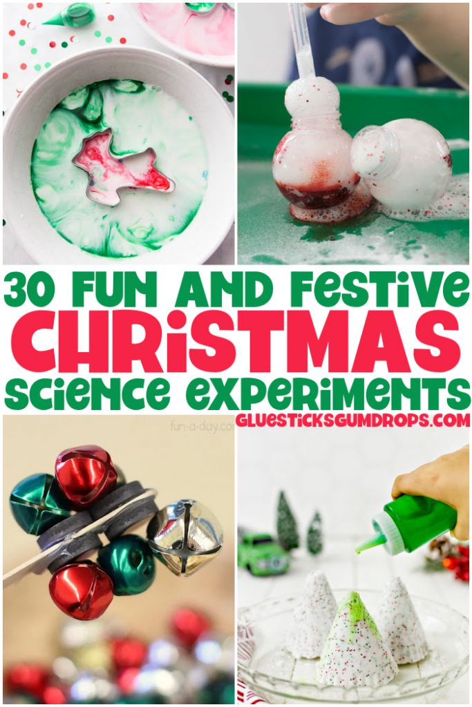 collage of christmas science experiments for kids
