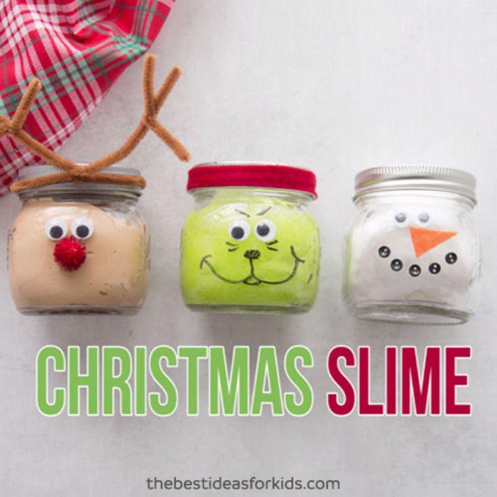 reindeer, grinch, and snowman slime in jars