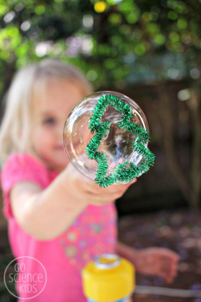 bubble wand shaped into a christmas tree