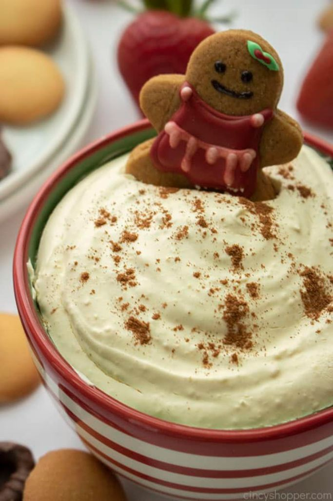 eggnog christmas dip for cookies and fruit