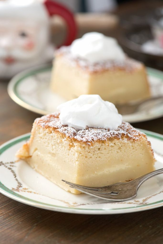 eggnog magic cake - a cake with three layers from one batter