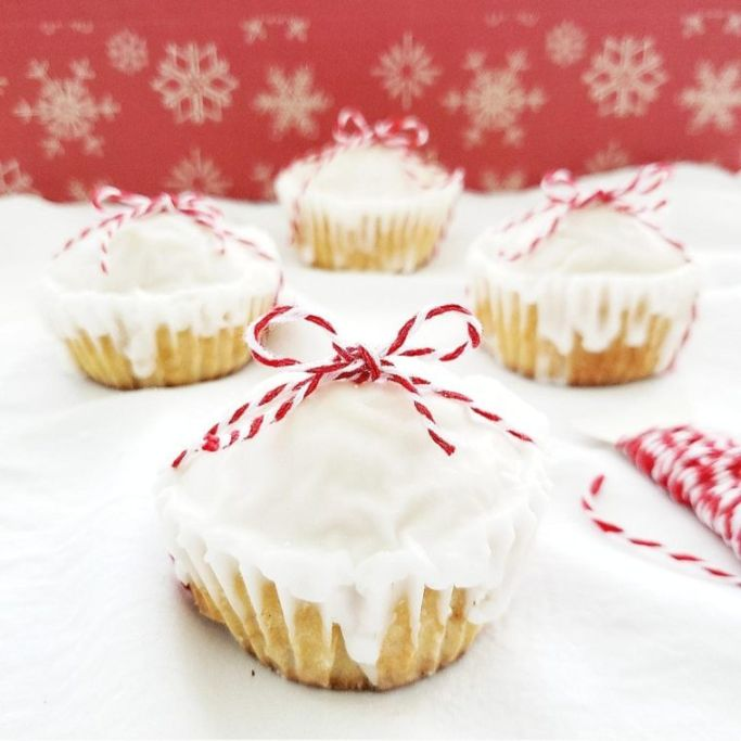 eggnog muffins tied with red and white twine