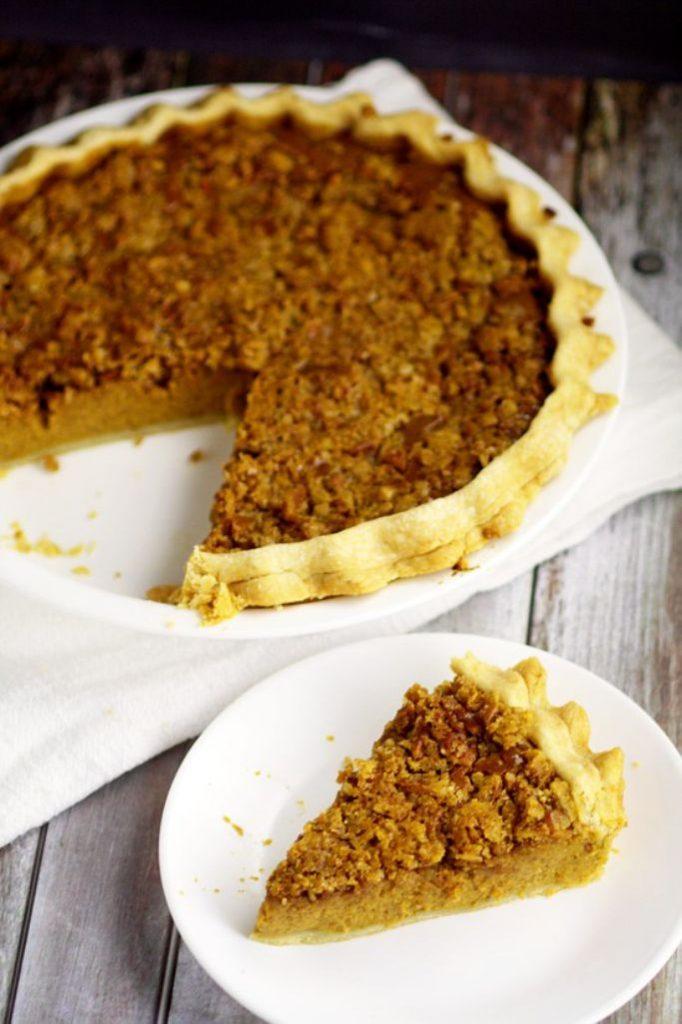 eggnog pumpkin pie with brown sugar topping