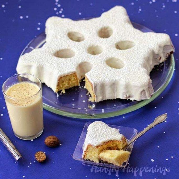eggnog snowflake cake for christmas
