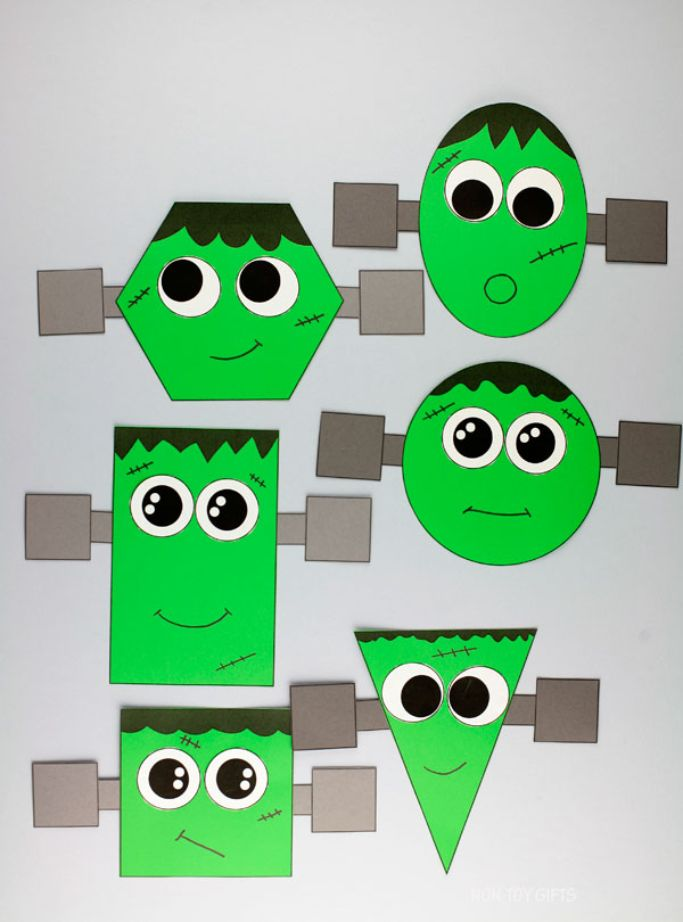 frankenstein shape craft from non-toy gifts