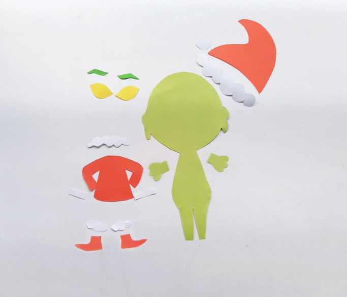 pieces cut from the Grinch template
