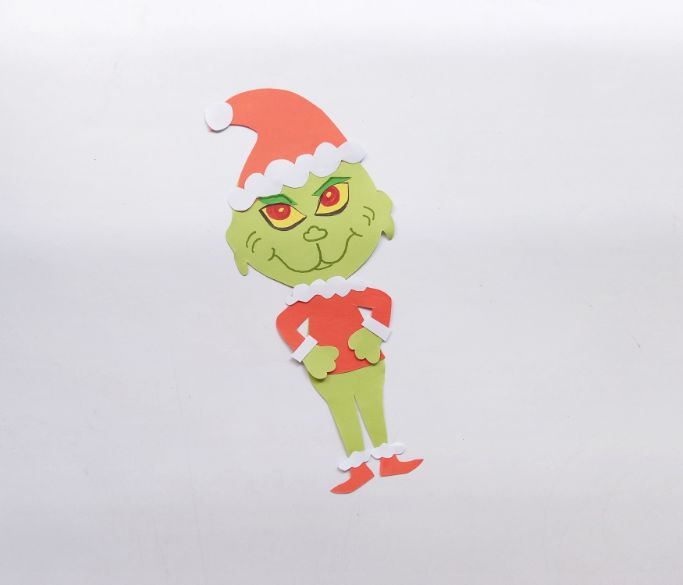 drawing in the details on the Grinch's face