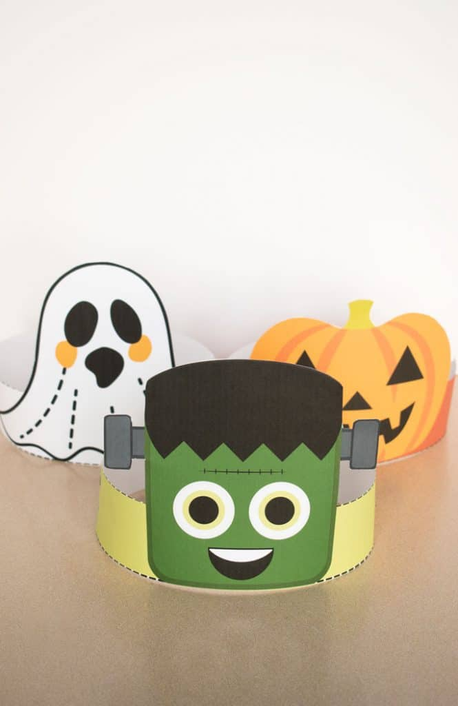 Frankenstein halloween headband with ghost and jack-o-lantern headbands in background