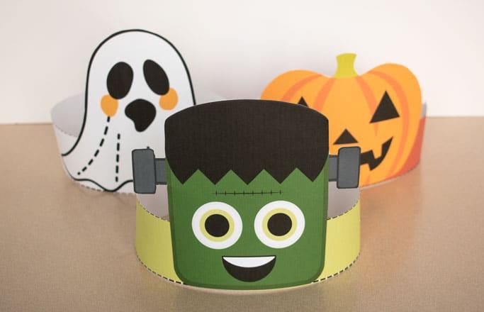 cute halloween headbands for kids - Frankenstein, ghost, and jack-o-lantern