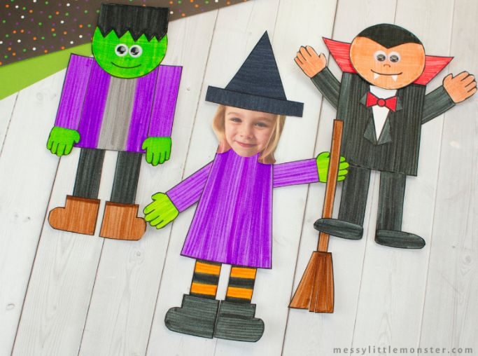 halloween mix and match craft from messy little monster