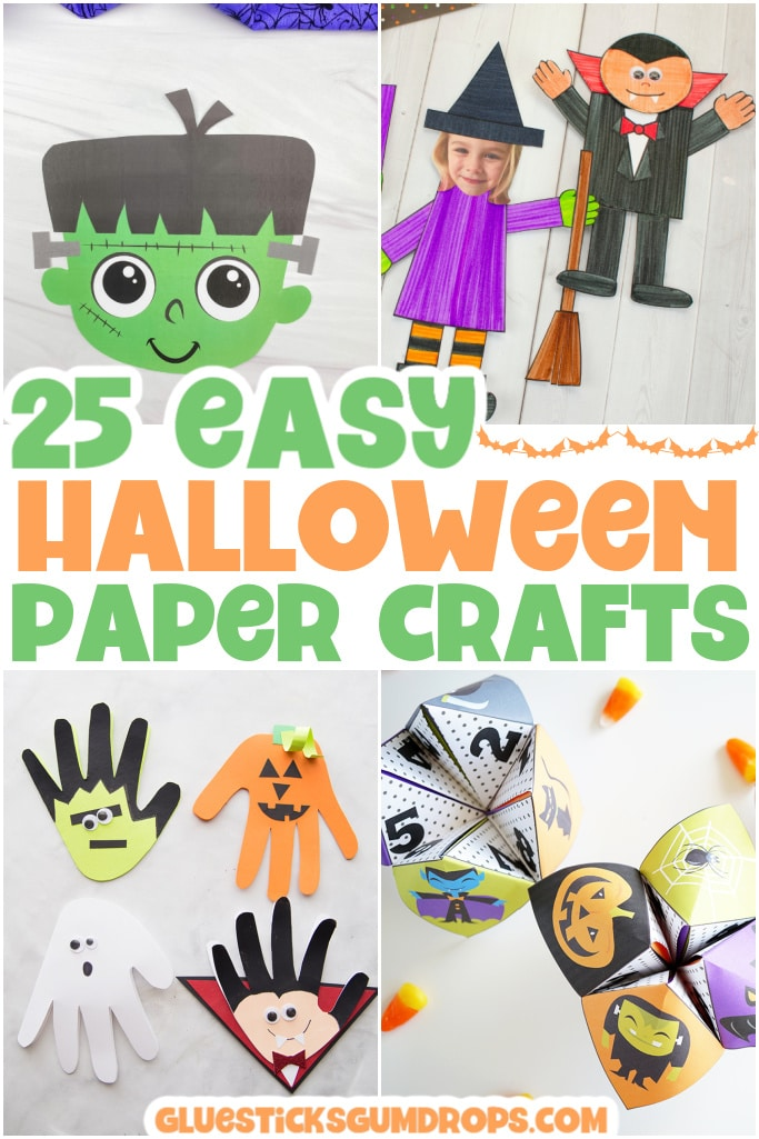 collage of halloween paper crafts
