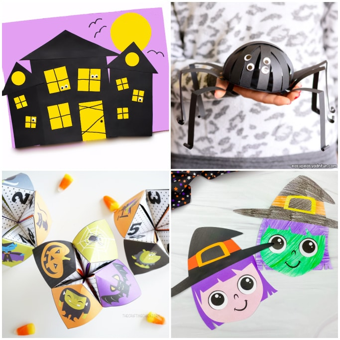 collage of paper crafts for Halloween