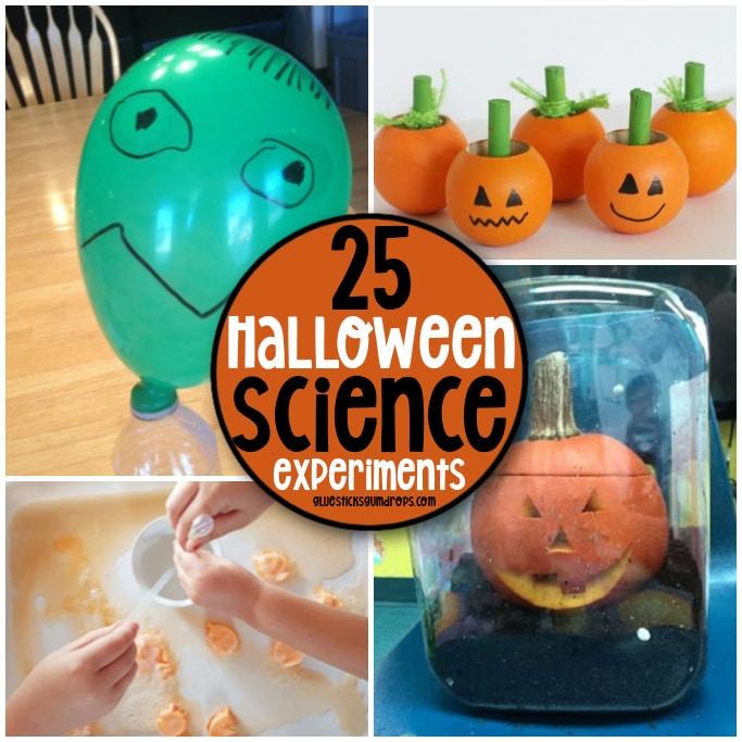 collage of halloween science activities