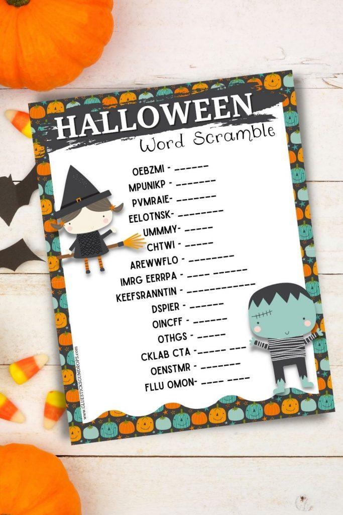 Halloween word scramble on festive background