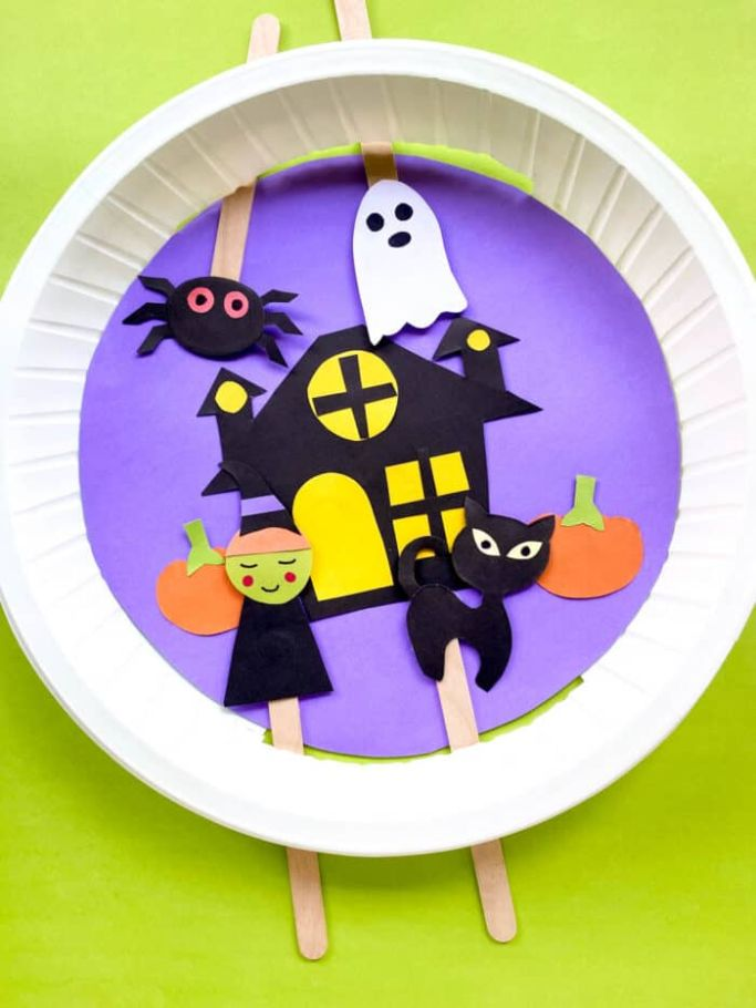 haunted house paper plate craft by Made with Happy