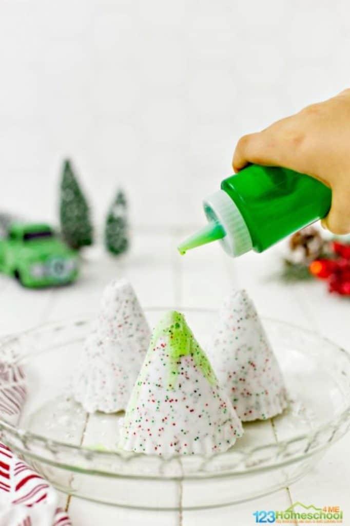 melting baking soda christmas trees