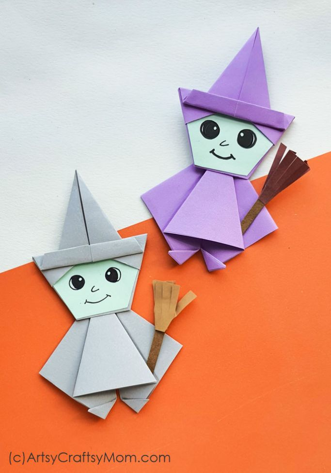origami witches by artsy craftsy mom