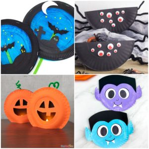 collage of halloween paper plate crafts