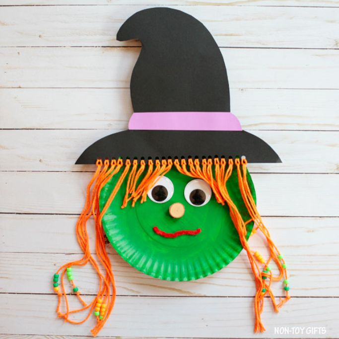 paper plate witch by Non-Toy Gifts