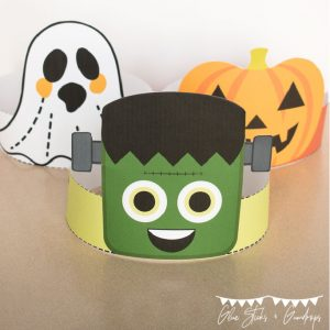 cute halloween headbands square image featuring frankenstein, a ghost, and a pumpkin
